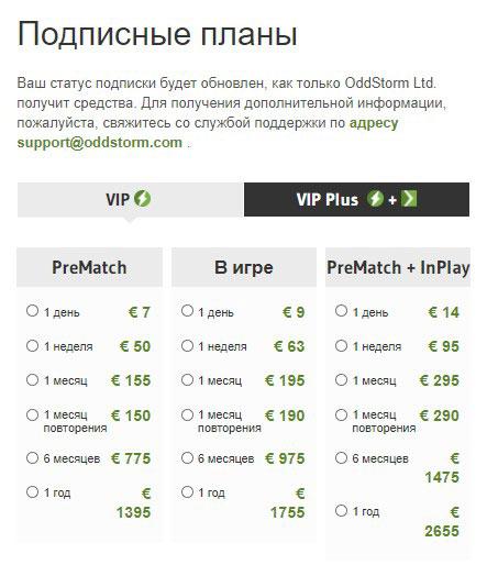 OddStorm тариф VIP